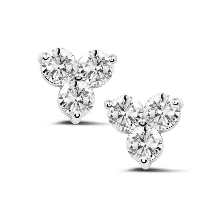 2.00 carat boucles d'oreilles trilogie en or blanc et diamants