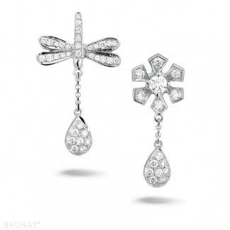 Platine - 0.95 carat boucles d'oreilles fleur et libellule en platine et diamants