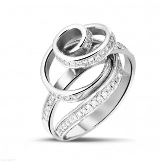 Platine - 0.85 carat bague design en platine et diamants