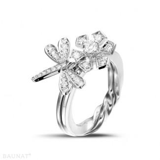 Platine - 0.55 carat bague design fleur & libellule en platine et diamants
