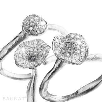 Bagues Diamant Or Blanc - Ensemble bagues design en or blanc et diamants