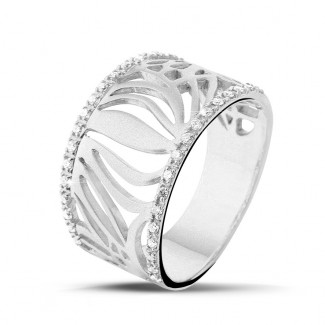 Or Blanc - 0.17 carat bague design en or blanc avec diamants