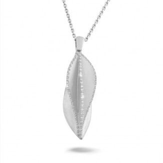 Colliers Or Blanc - 0.40 carat pendentif design en or blanc avec diamants