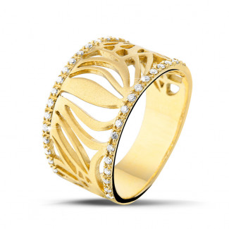 Or Jaune  - 0.17 carat bague design en or jaune avec diamants