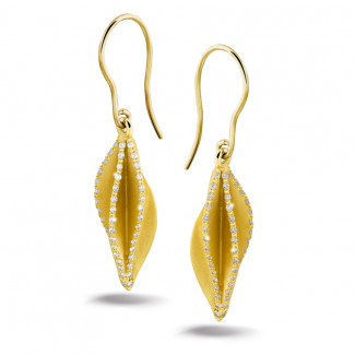 Or Jaune  - 2.26 carat boucles d'oreilles design en or jaune et diamants
