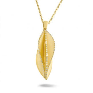Colliers Or Jaune - 0.40 carat pendentif design en or jaune avec diamants