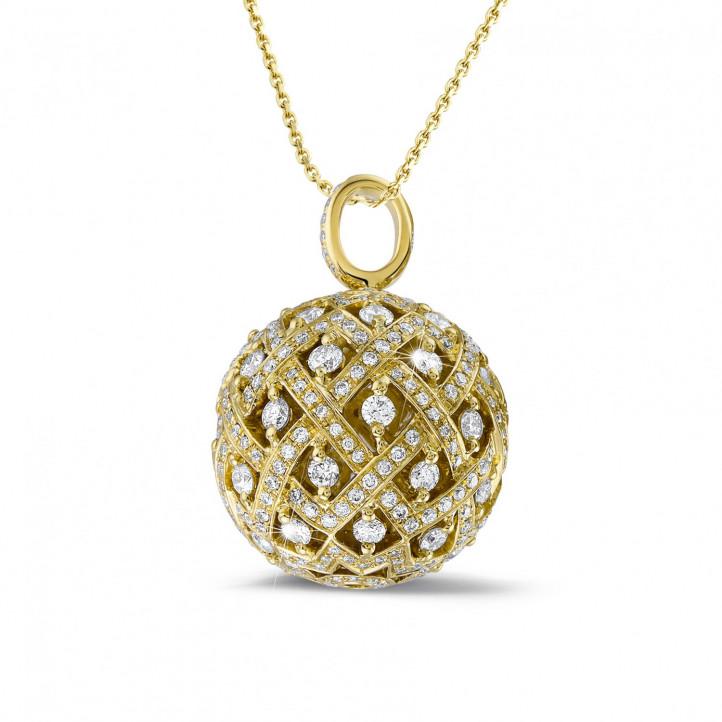 2.00 carat pendentif en or jaune avec diamants