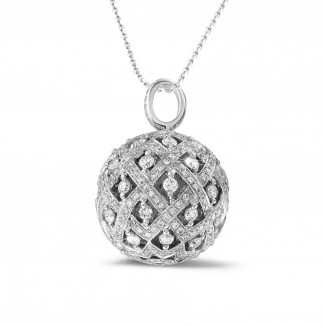Colliers Or Blanc - 2.00 carat pendentif en or blanc avec diamants