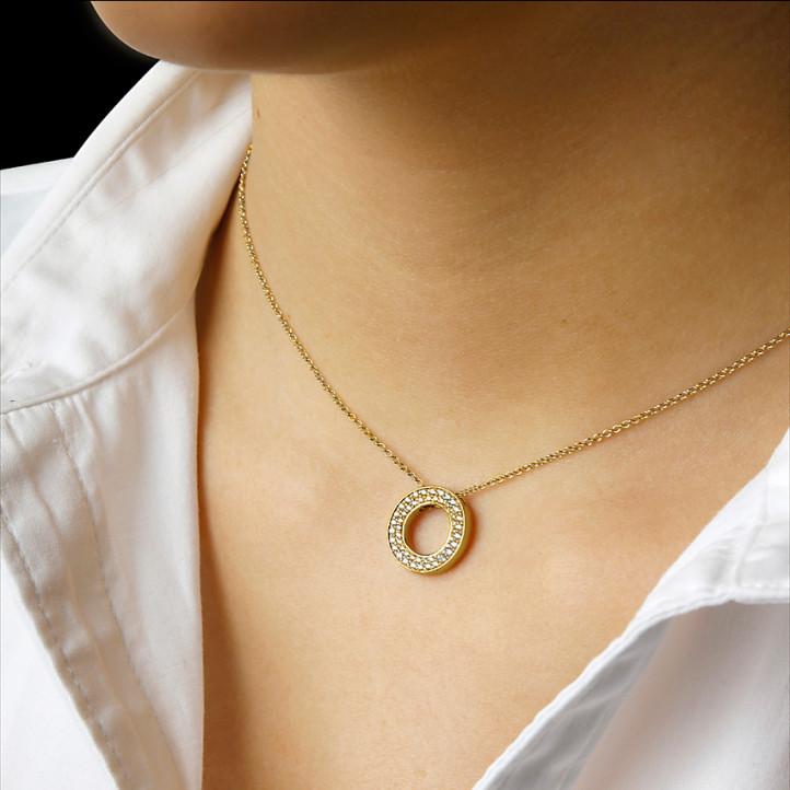 0.34 carat collier en or jaune et diamants