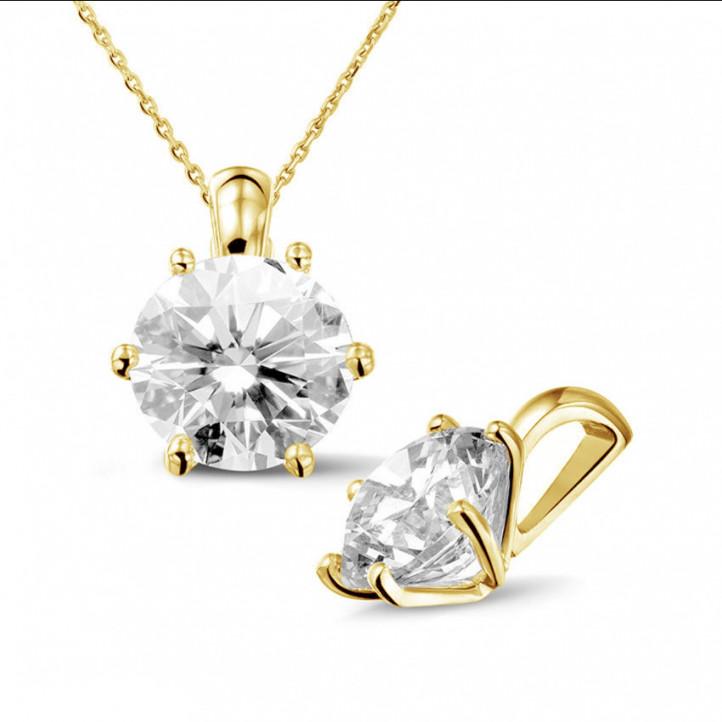 3.00 carat pendentif solitaire en or jaune avec diamant rond