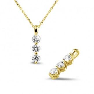 0.75 carat pendentif trilogie en or jaune avec diamants