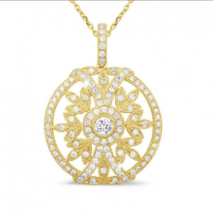 0.90 carat pendentif en or jaune avec diamants