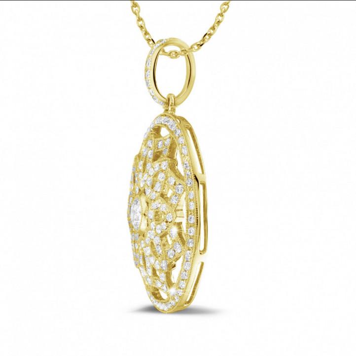 1.10 carat pendentif en or jaune avec diamants