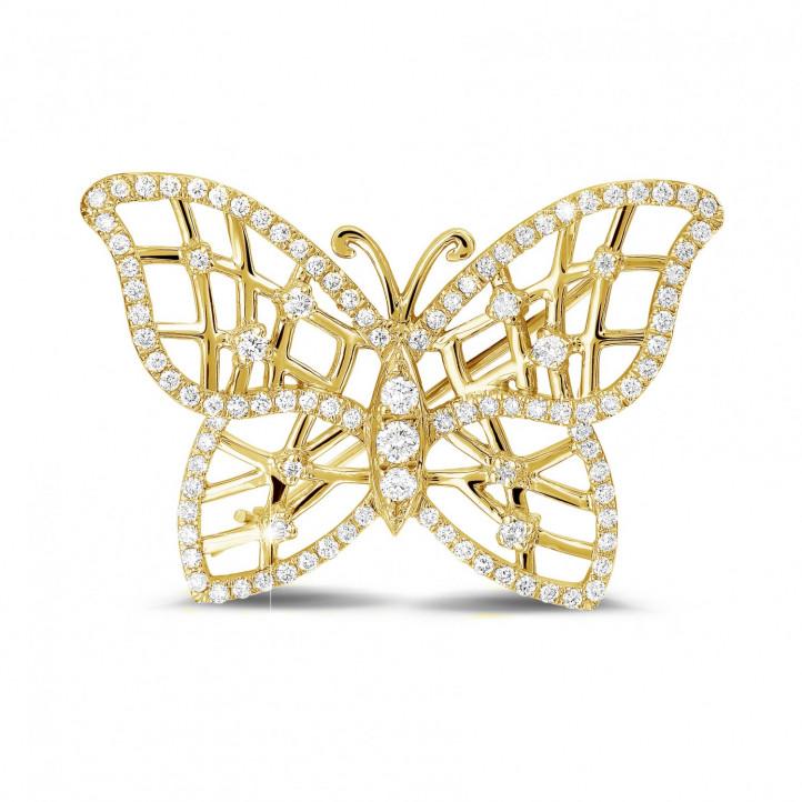 0.90 carat broche design papillon en or jaune avec diamants