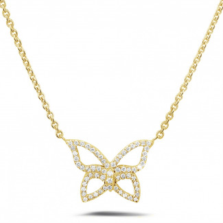 Colliers - 0.30 carat collier design papillon en or jaune avec diamants