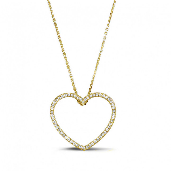 0.45 carat pendentif en forme de coeur en or jaune et diamants