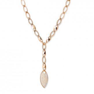 Colliers - Chaîne de collier fine en or rouge avec diamants 1.65 carat