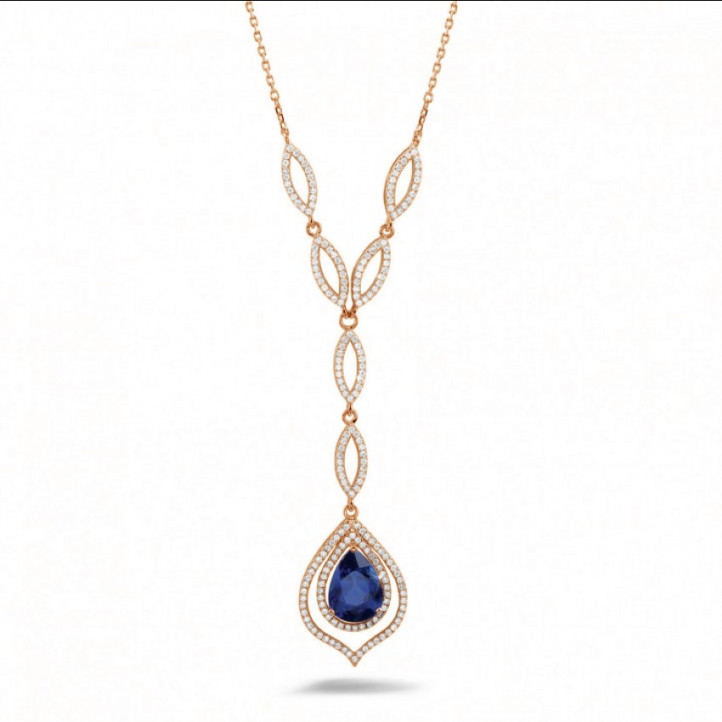 Collier en diamant et or rouge avec saphir en forme de poire d'environ 4.00 carat