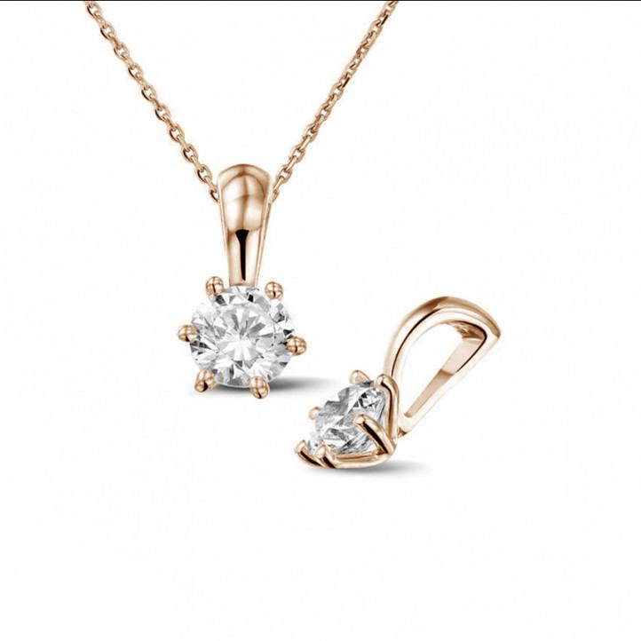 0.50 carat pendentif solitaire en or rouge avec diamant rond