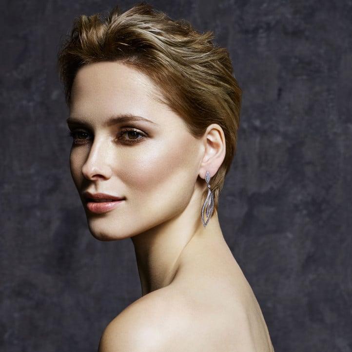 2.35 carat boucles d'oreilles feuilles en or blanc et diamants