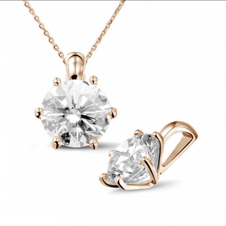 3.00 carat pendentif solitaire en or rouge avec diamant rond