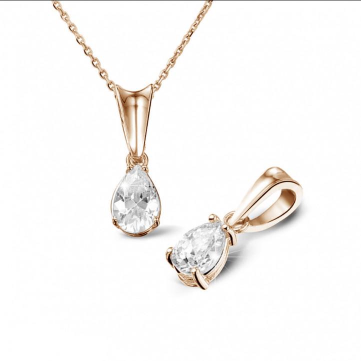 0.50 carat pendentif solitaire en or rouge avec diamant en forme de poire