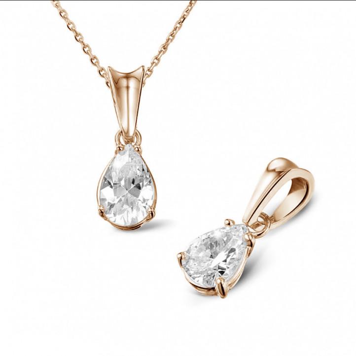 0.75 carat pendentif solitaire en or rouge avec diamant en forme de poire