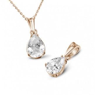 Classics - 1.00 carat pendentif solitaire en or rouge avec diamant en forme de poire