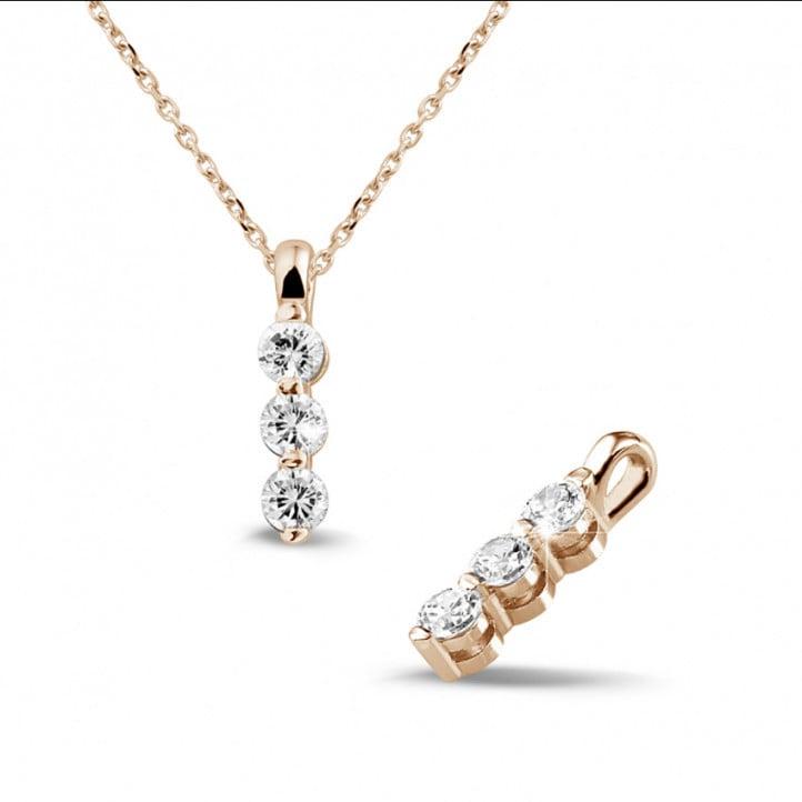 0.50 carat pendentif trilogie en or rouge avec diamants