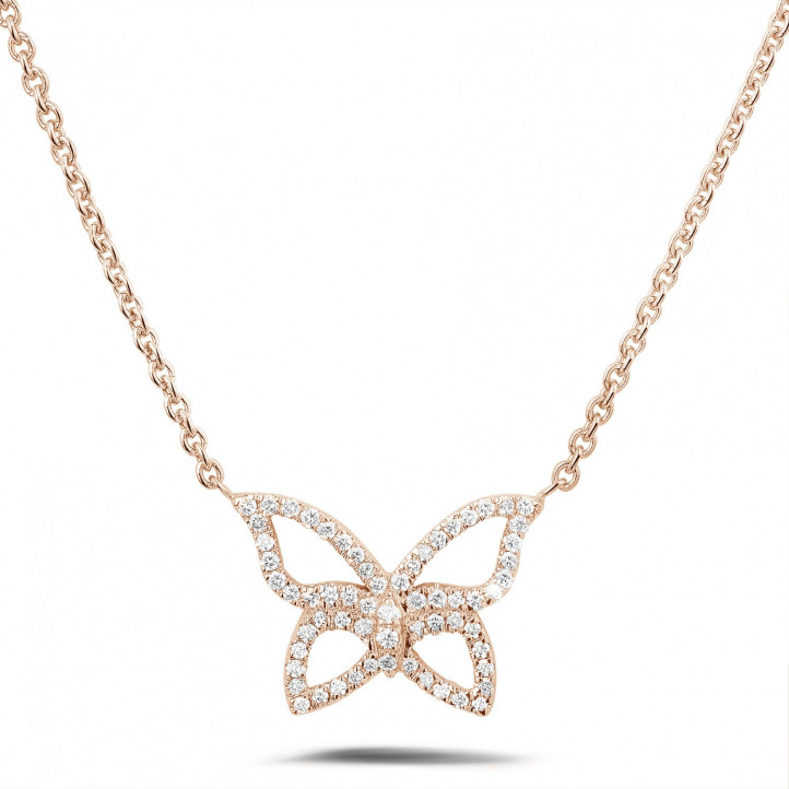 0.30 carat collier design papillon en or rouge avec diamants