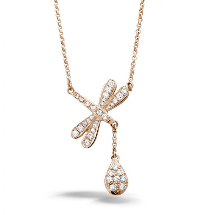 0.36 carat collier libellule en or rouge avec diamants