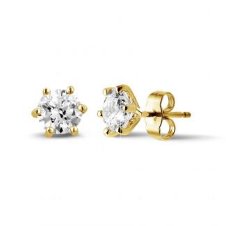 2.00 carat boucles d'oreilles classiques en or jaune avec six griffes et diamants