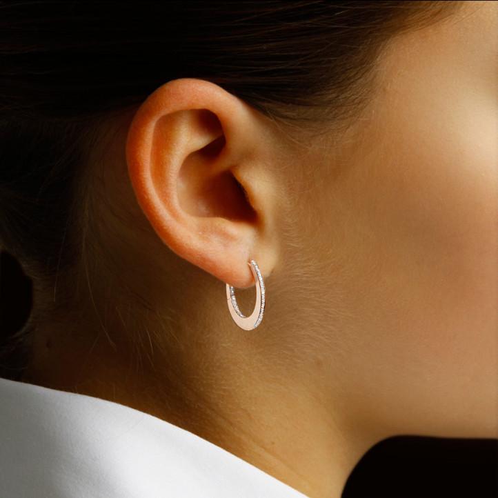 0.22 carat créoles (boucles d'oreilles) en or rouge et diamants