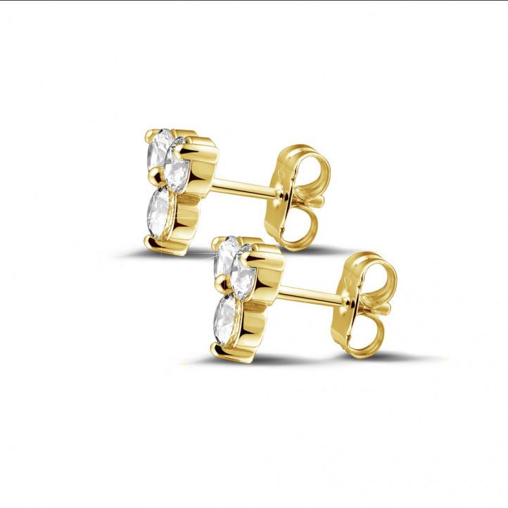1.20 carat boucles d'oreilles trilogie en or jaune et diamants