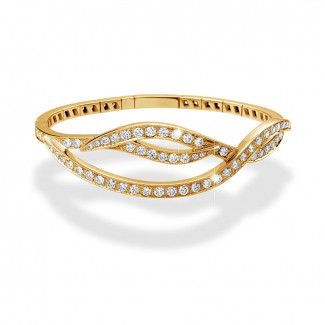 Or Jaune  - 3.32 carat bracelet design en or jaune avec diamants