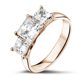 2.00 carat bague trilogie en or rouge et diamants princesses