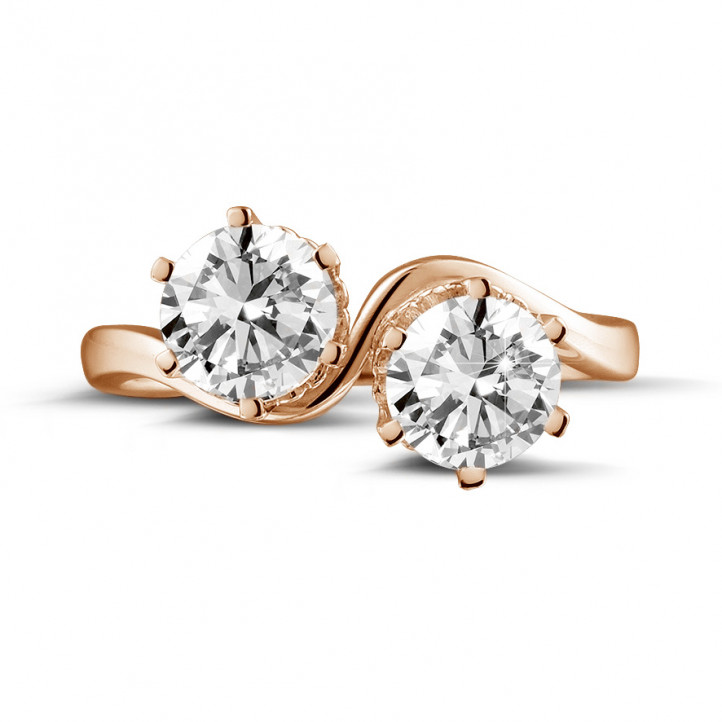 1.50 carat bague Toi et Moi en or rouge et diamants