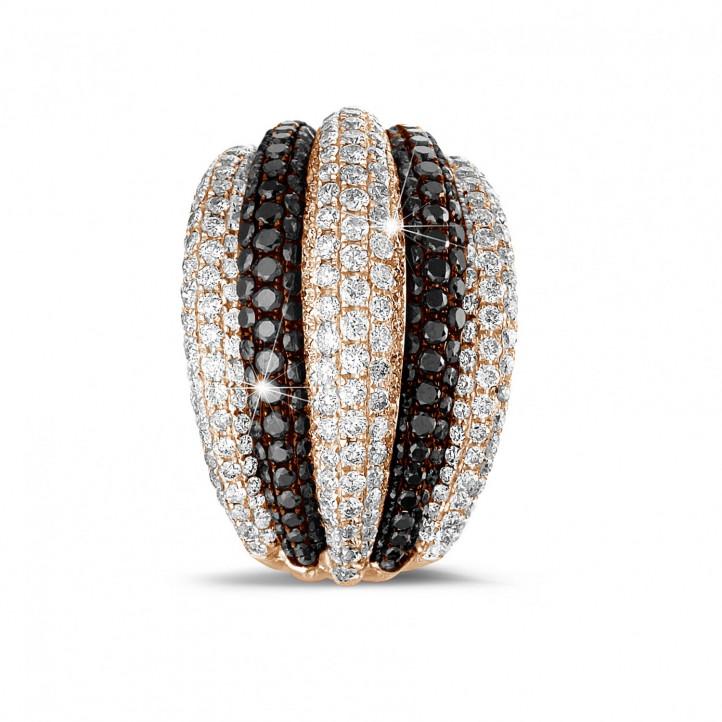 4.30 carat bague en or rouge avec des petits diamants ronds en blanc et noir
