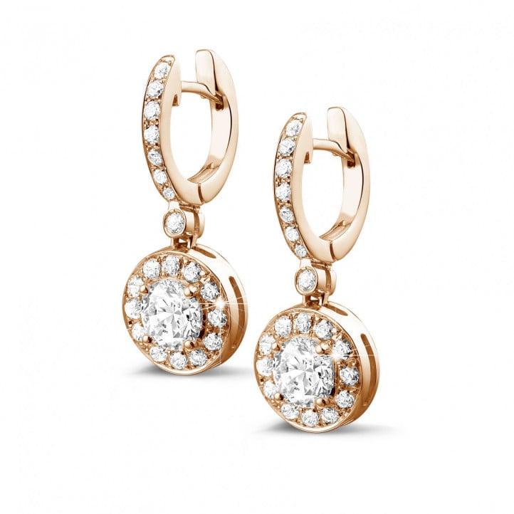 1.55 carat boucles d'oreilles auréoles en or rouge et diamants