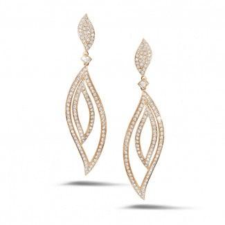 2.35 carat boucles d'oreilles feuilles en or rouge et diamants