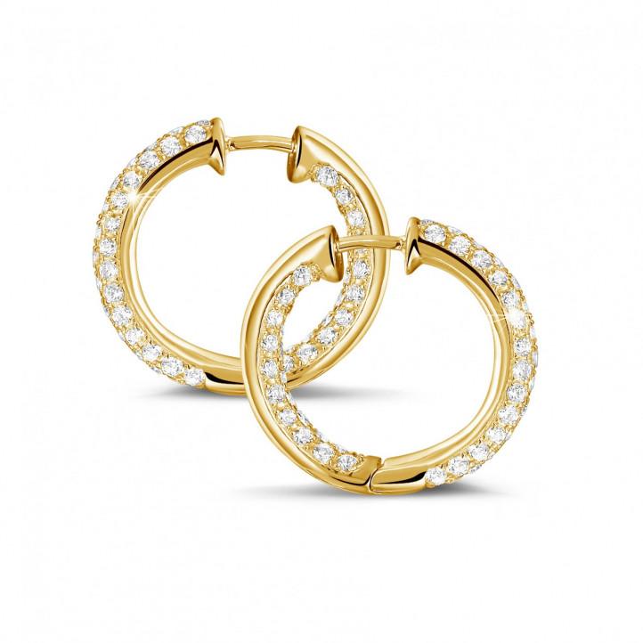 2.15 carat créoles (boucles d'oreilles) en or jaune et diamants