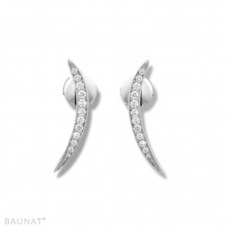 Or Blanc - 0.36 carat boucles d'oreilles design en or blanc et diamants