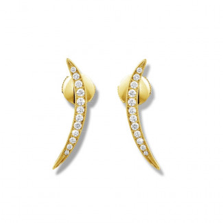 Or Jaune  - 0.36 carat boucles d'oreilles design en or jaune et diamants