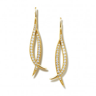 Or Jaune  - 0.76 carat boucles d'oreilles design en or jaune et diamants