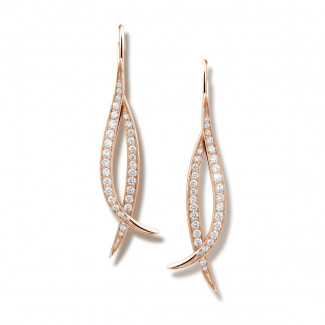 Or Rouge - 0.76 carat boucles d'oreilles design en or rouge et diamants