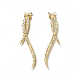 Boucles d'oreilles - 1.90 carat boucles d'oreilles design en or jaune et diamants