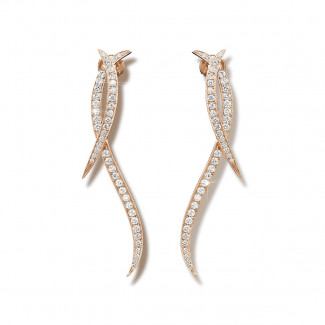 Or Rouge - 1.90 carat boucles d'oreilles design en or rouge et diamants