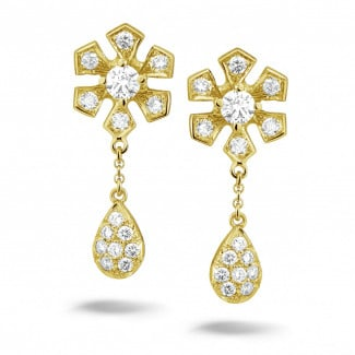 Boucles d'oreilles en diamants Or jaune - 0.90 carat boucles d'oreilles fleur en or jaune et diamants