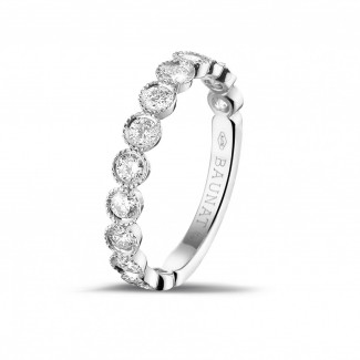 Bagues Diamant Or Blanc - 0.70 carat alliance superposable en or blanc avec diamants