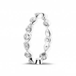 Alliance diamant en or blanc - 0.50 carat alliance superposable en or blanc avec diamants déco poire